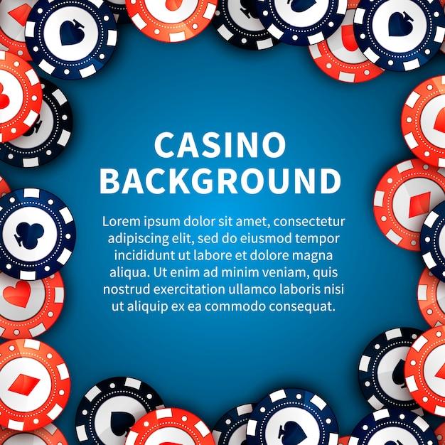 Jetons de casino sur la table, arrière-plan avec un modèle de texte Vecteur Premium