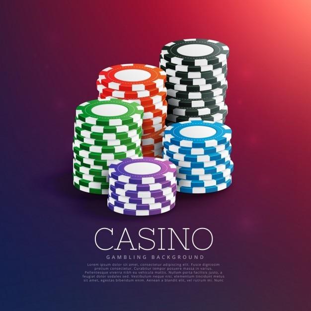 jetons de casino à jouer dans la pile Vecteur gratuit