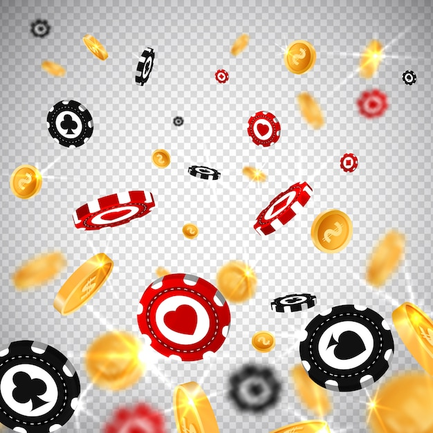 Jetons de poker 3d style réaliste Vecteur Premium