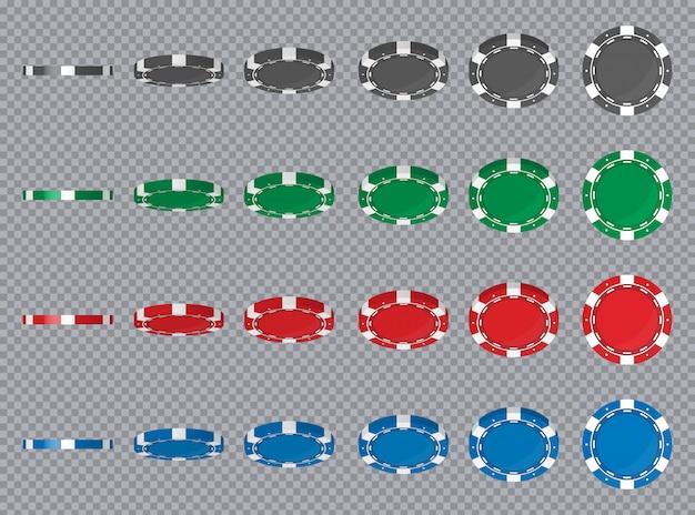 Les jetons de poker de casino inversent la position des angles différents. Vecteur Premium