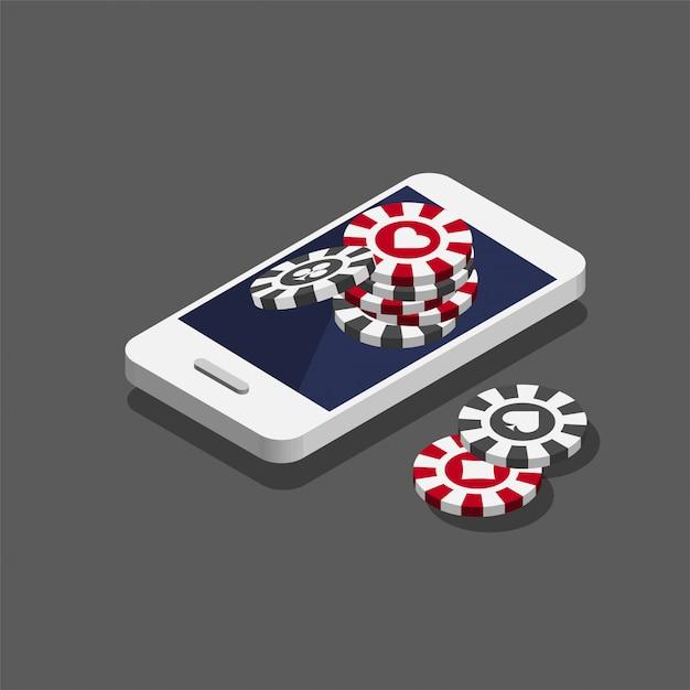 Jetons De Poker De Casino Sur Le Smartphone. Concept De Casino En Ligne Dans Un Style Isométrique Branché. Vecteur Premium