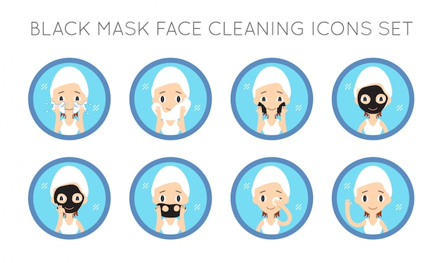 Jeu d'actions de nettoyage et de soins pour le visage vector Vecteur Premium