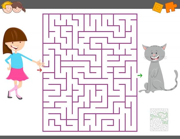 Jeu d'activité de labyrinthe pour les enfants avec une fille et son chat Vecteur Premium