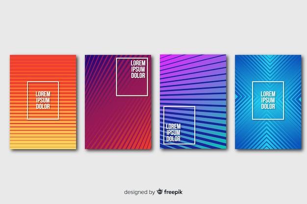 Jeu d'affiches de lignes géométriques colorées Vecteur gratuit