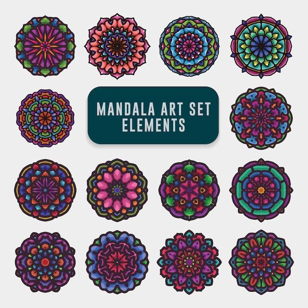 Jeu d'art coloré détaillé de mandala Vecteur Premium