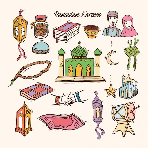 Jeu d'art islamique sous forme de griffonnage pour le ramadan Vecteur Premium