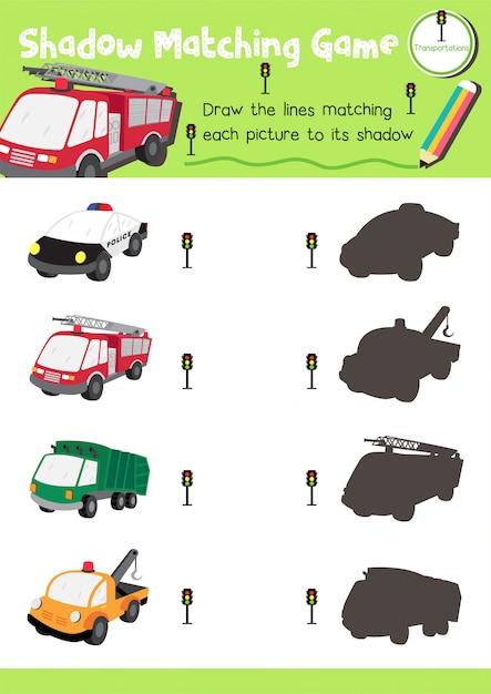 Jeu D'association D'ombres Transport Vecteur Premium