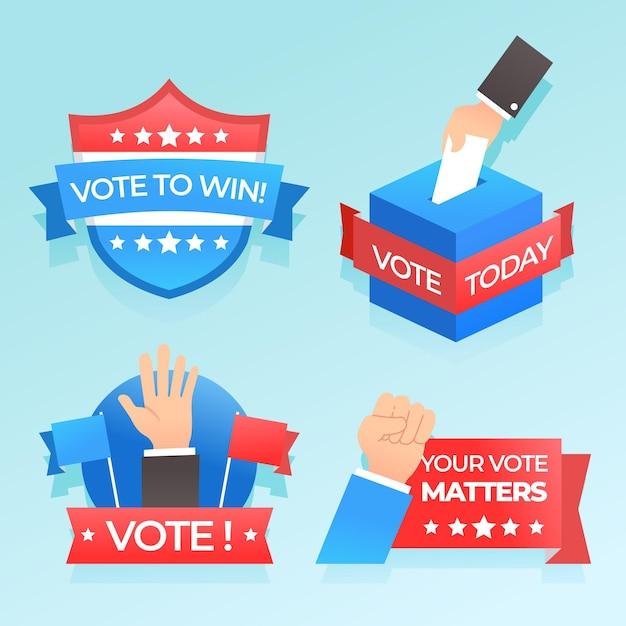 Jeu De Badges Et Autocollants De Vote Vecteur gratuit