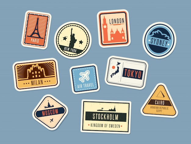 Jeu De Badges De Voyage Vecteur gratuit