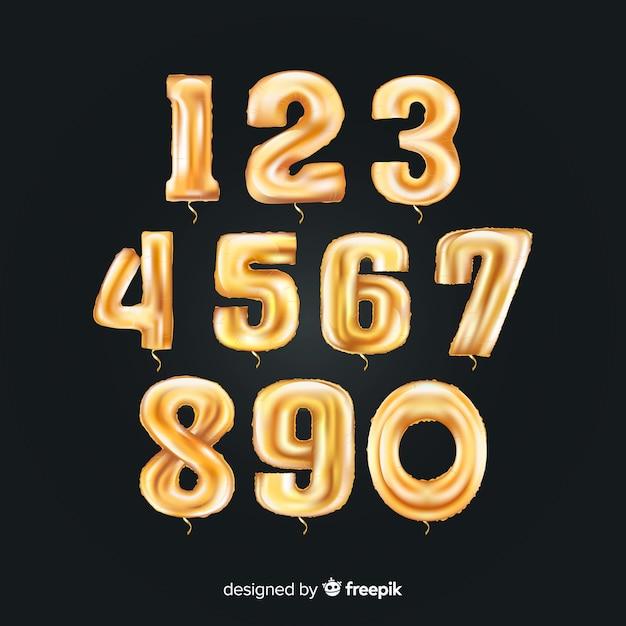 Jeu de ballons numéros d'or Vecteur gratuit