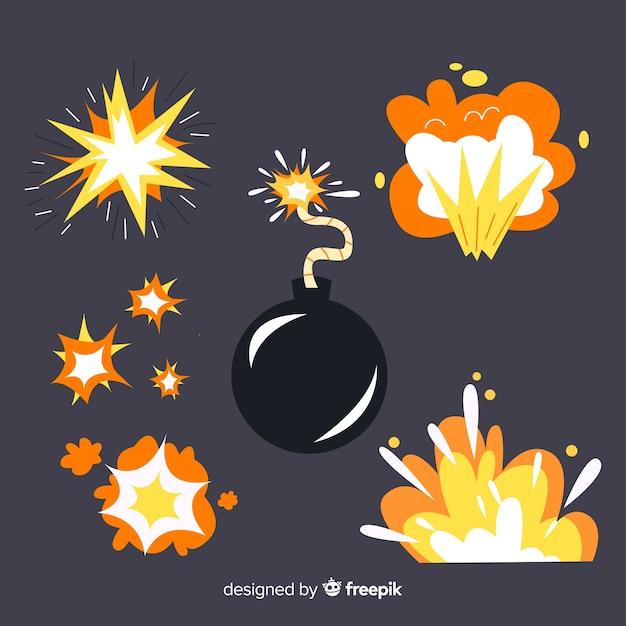 Jeu de bande dessinée d'effets d'explosion de bombe Vecteur gratuit