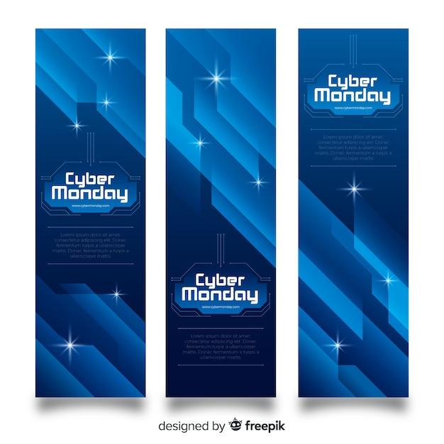 Jeu de bannière abstraite cyber lundi Vecteur gratuit
