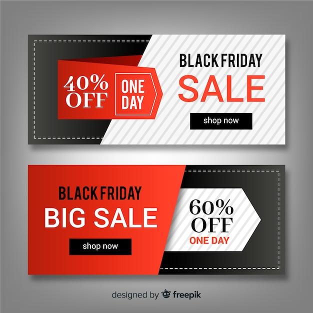 Jeu de bannière abstraite vente vendredi noir Vecteur gratuit