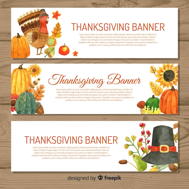 Jeu de bannière aquarelle happy thanksgiving Vecteur gratuit