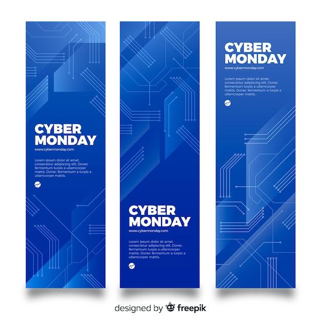 Jeu de bannière bleu cyber vente moderne lundi Vecteur gratuit