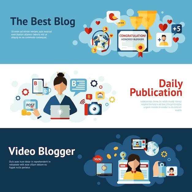 Jeu De Bannière Blogger Vecteur gratuit