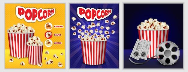 Jeu de bannière de boîte de cinéma popcorn Vecteur Premium