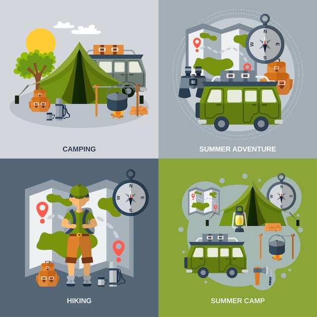 Jeu de bannière de camping Vecteur gratuit