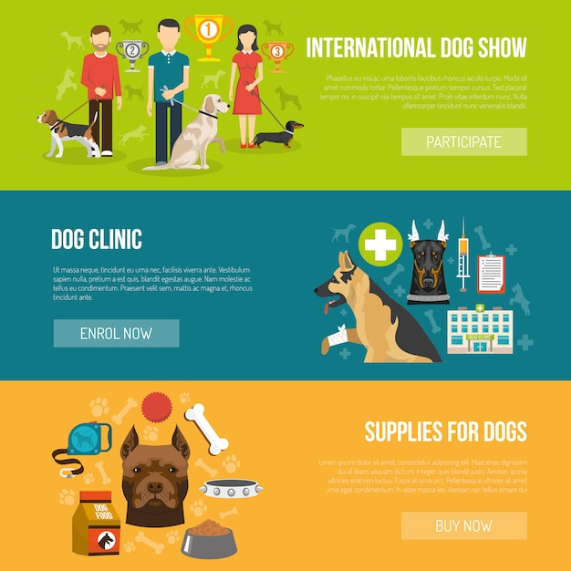 Jeu de bannière de chien Vecteur gratuit