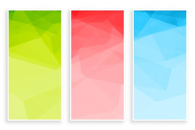 Jeu de bannière de couleurs abstraites low poly triangle Vecteur gratuit