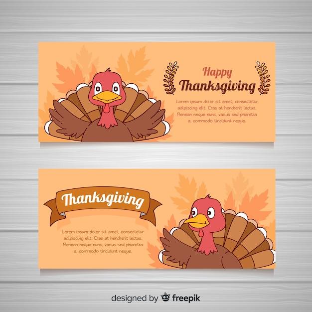 Jeu de bannière dessiné main thanksgiving day Vecteur gratuit
