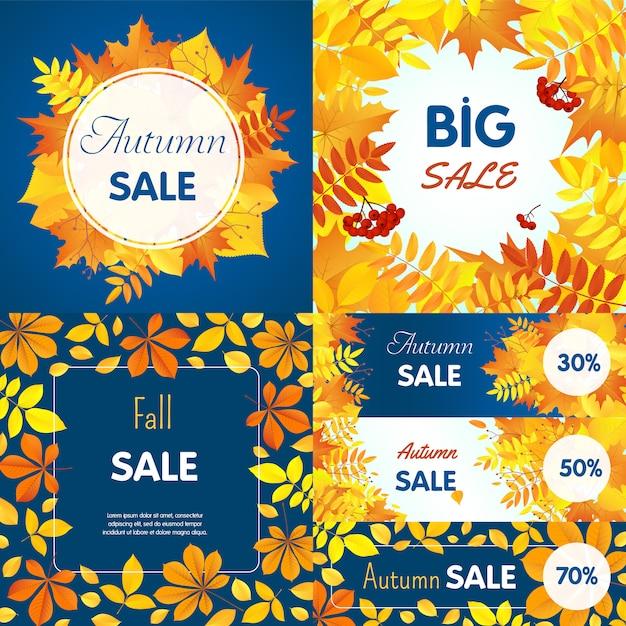 Jeu de bannière final de vente d'automne Vecteur Premium