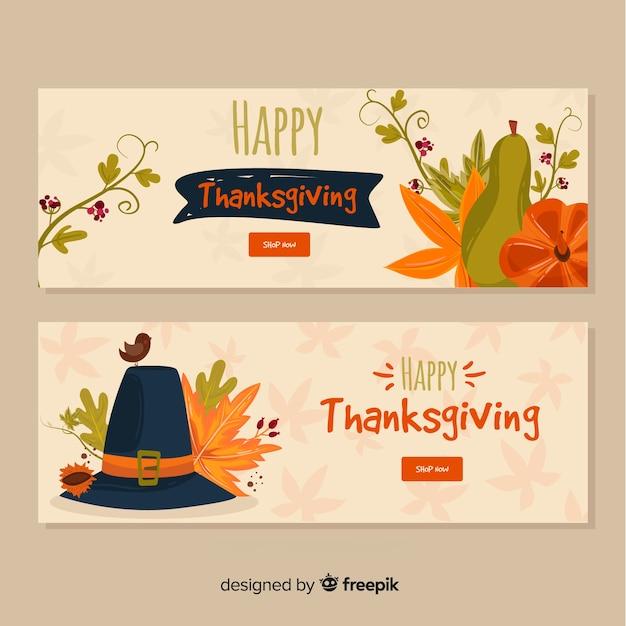 Jeu de bannière happy thanksgiving day Vecteur gratuit