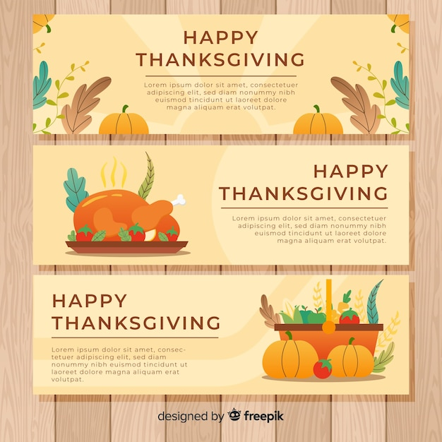 Jeu de bannière happy thanksgiving day Vecteur gratuit