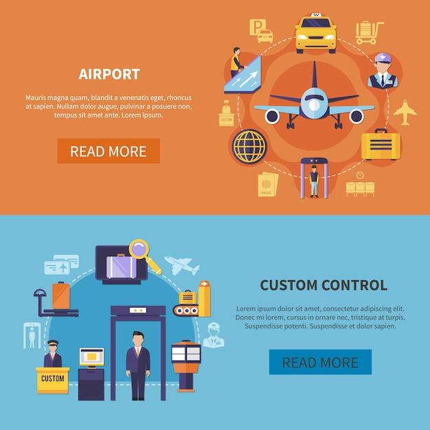Jeu De Bannière Horizontale Aéroport Vecteur gratuit