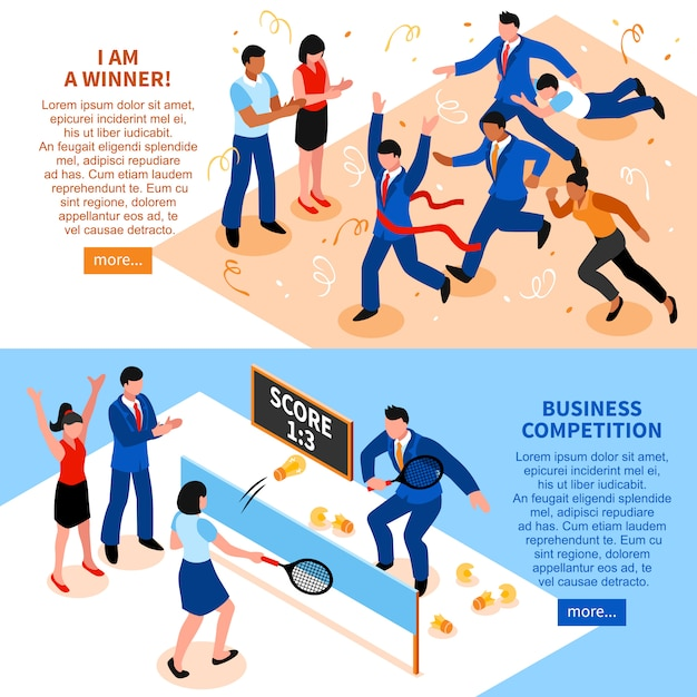 Jeu de bannière horizontale entreprise concurrence Vecteur gratuit