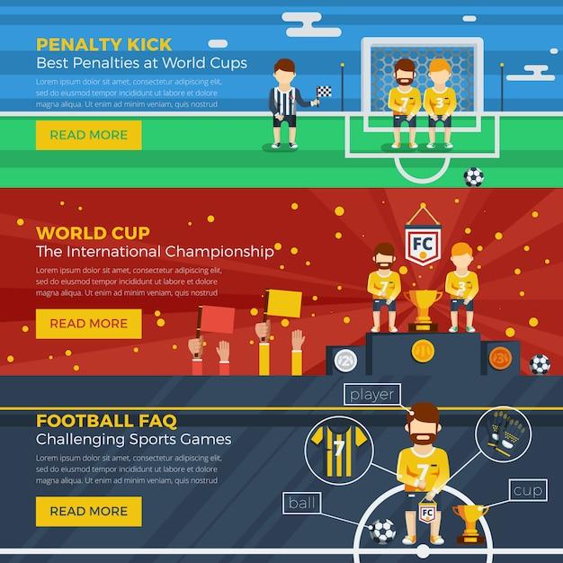 Jeu de bannière horizontale football Vecteur gratuit