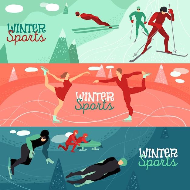 Jeu De Bannière Horizontale Sports D'hiver Vecteur gratuit