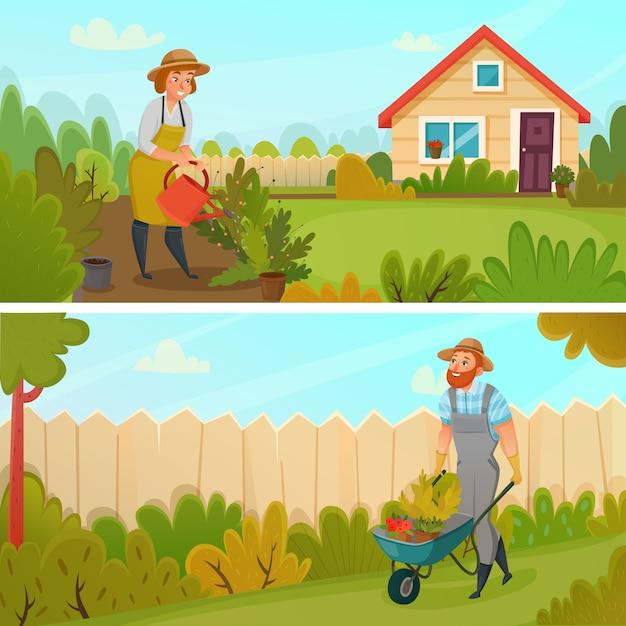 Jeu de bannière de jardinage Vecteur gratuit
