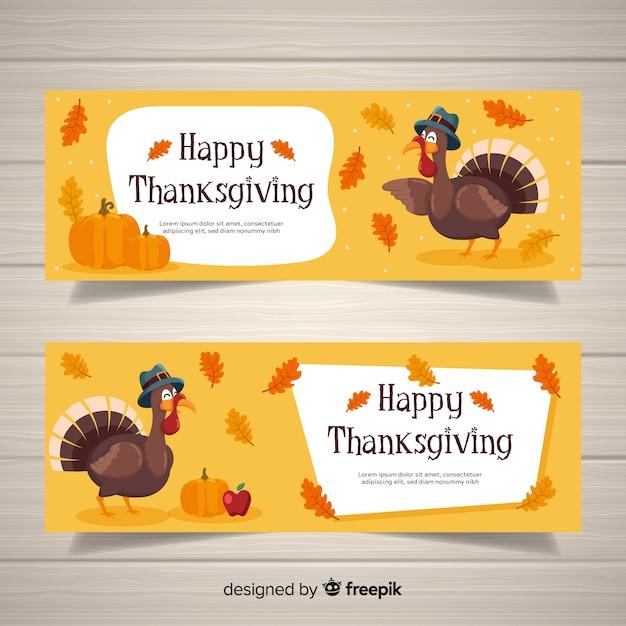 Jeu de bannière de joyeux dinde thanksgiving day Vecteur gratuit