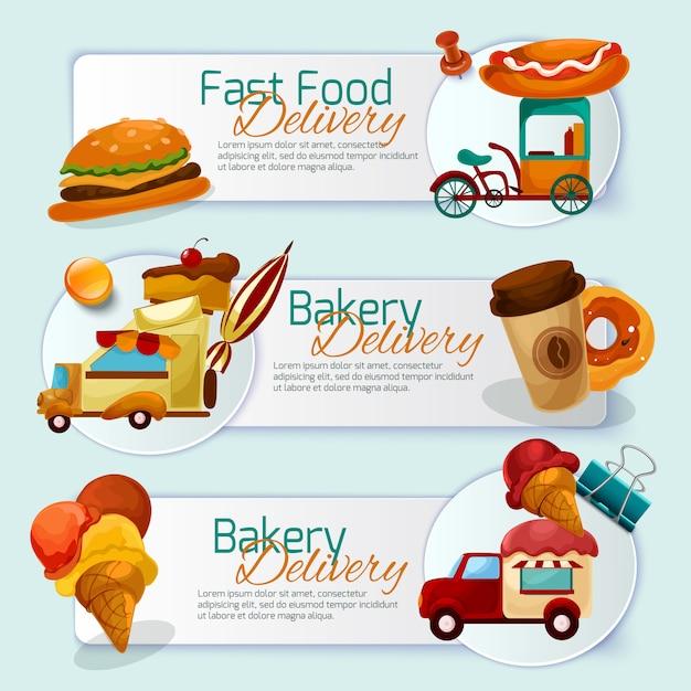 Jeu De Bannière De Livraison De Nourriture Vecteur gratuit