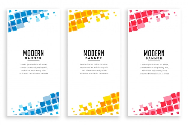 Jeu De Bannière De Mosaïque De Style Entreprise Moderne Vecteur gratuit