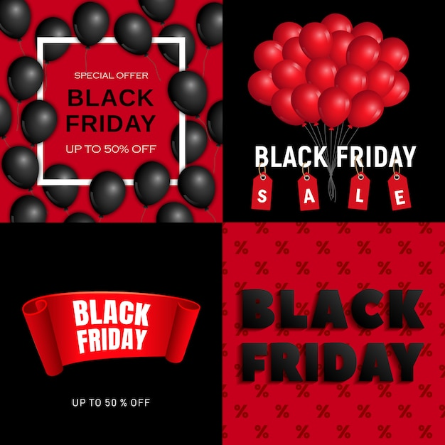 Jeu de bannière noir vendredi Vecteur Premium