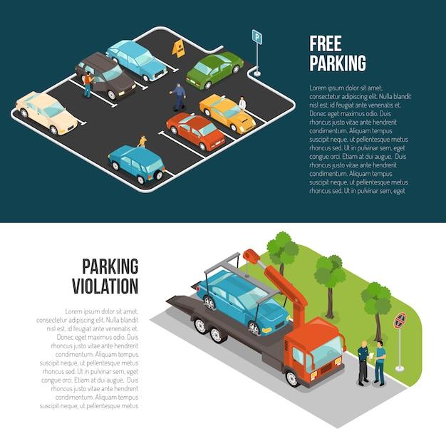 Jeu de bannière de parking Vecteur gratuit