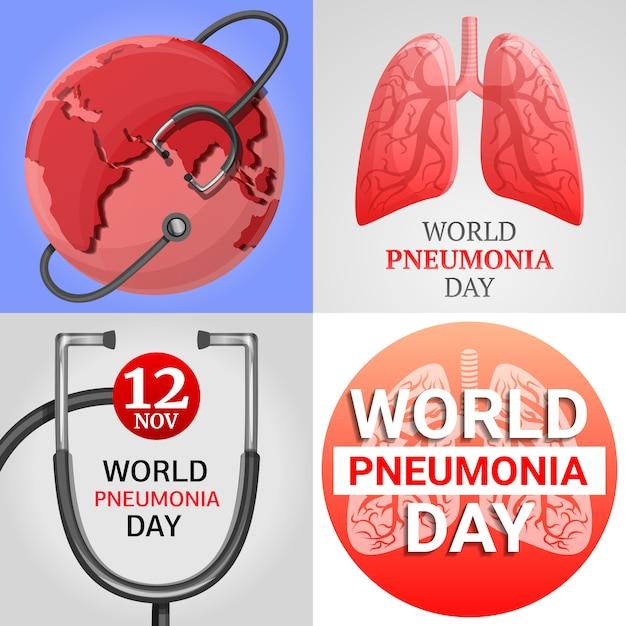 Jeu de bannière de pneumonie. bande dessinée illustration d'une bannière de vecteur de pneumonie définie pour la conception web Vecteur Premium