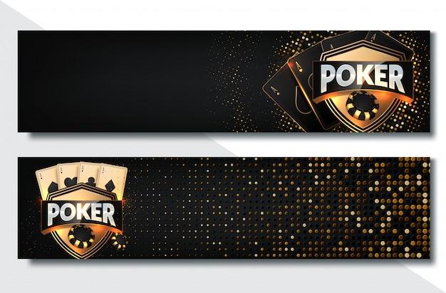 Jeu de bannière poker casino avec cartes et jetons Vecteur Premium