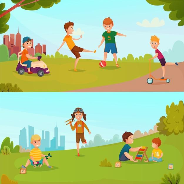 Jeu de bannière pour enfants Vecteur gratuit