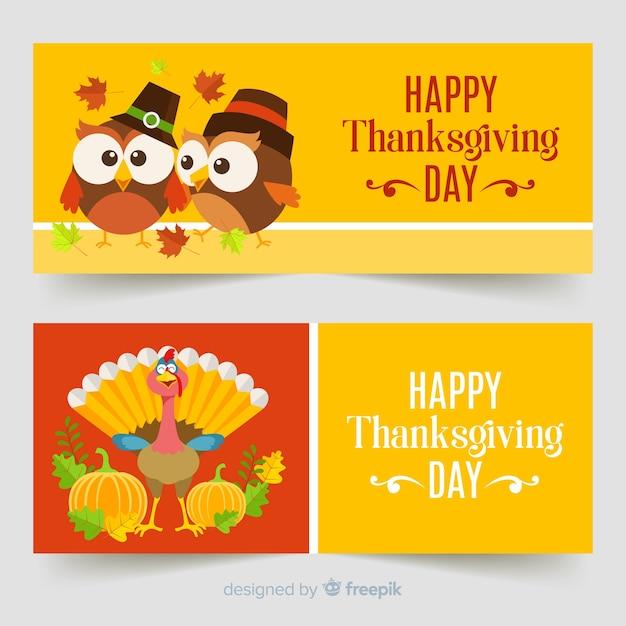 Jeu de bannière pour le jour de thanksgiving en turquie Vecteur gratuit