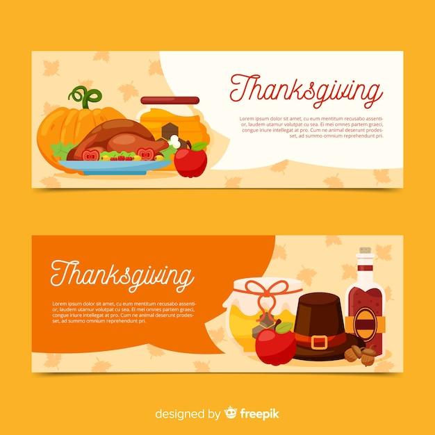Jeu de bannière pour le jour de thanksgiving Vecteur gratuit