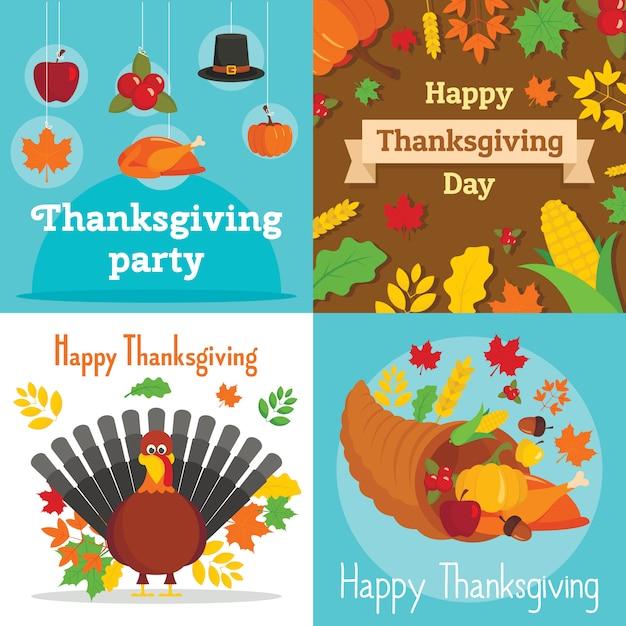 Jeu de bannière pour le jour de thanksgiving Vecteur Premium