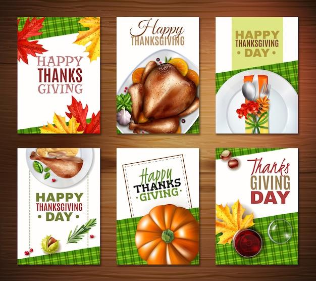 Jeu De Bannière Réaliste Thanksgiving Day Turquie Vecteur gratuit