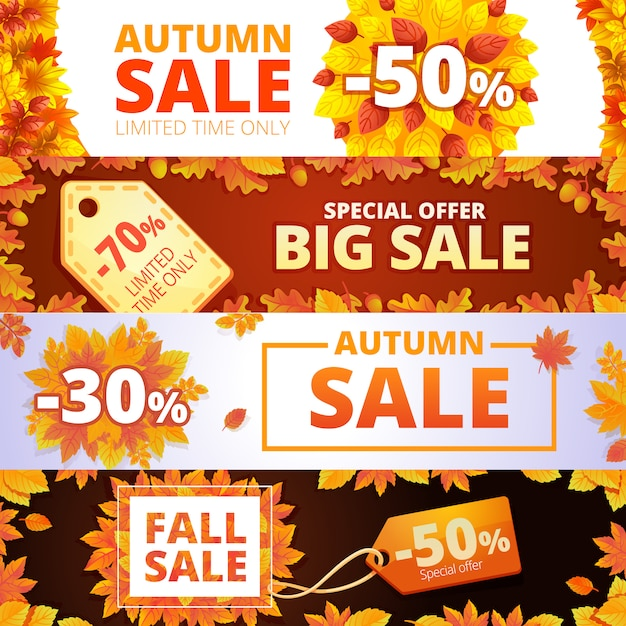 Jeu de bannière de vente d'automne Vecteur Premium