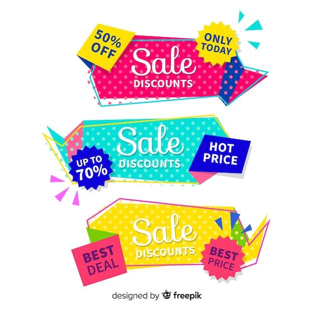 Jeu de bannière de vente coloré style origami Vecteur gratuit