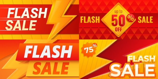 Jeu de bannière de vente flash, style cartoon Vecteur Premium