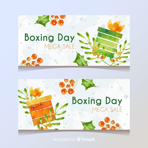 Jeu de bannière de vente de jour de boxe Vecteur gratuit