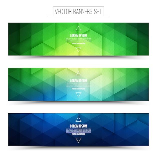 Jeu de bannières abstraites 3d vecteur vert bleu web Vecteur Premium